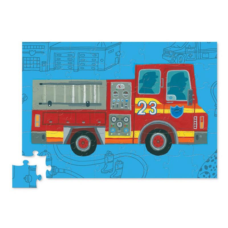 Voertuigpuzzel brandweerwagen, Crocodile Creek