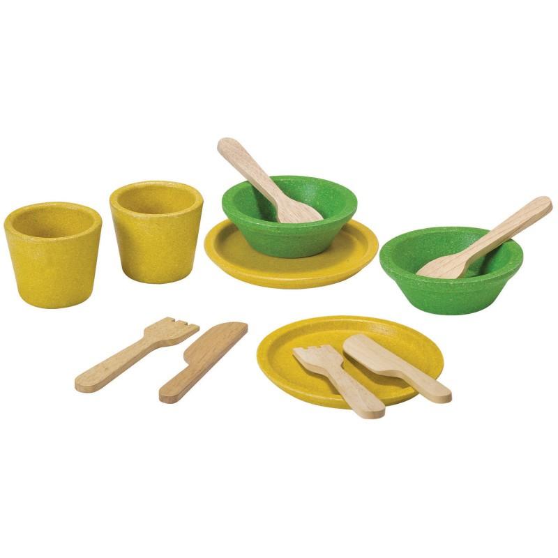 Servies en bestek geel-groen, Plan Toys