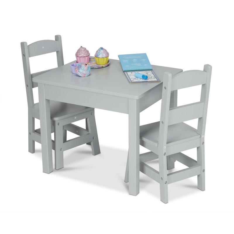 Tafel met 2 stoeltjes grijs, Melissa & Doug