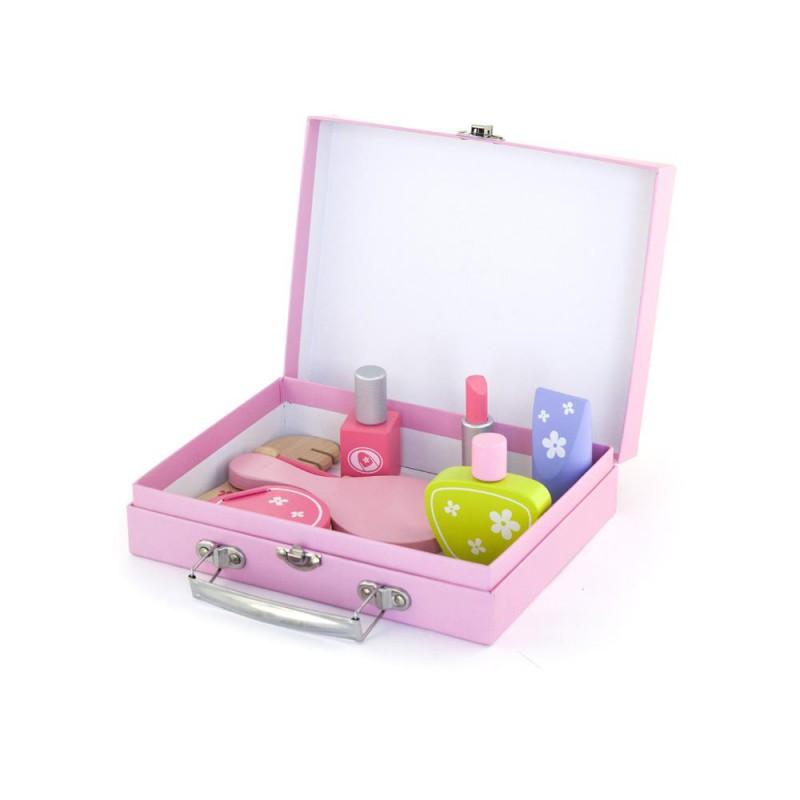 Houten beautyset in koffertje