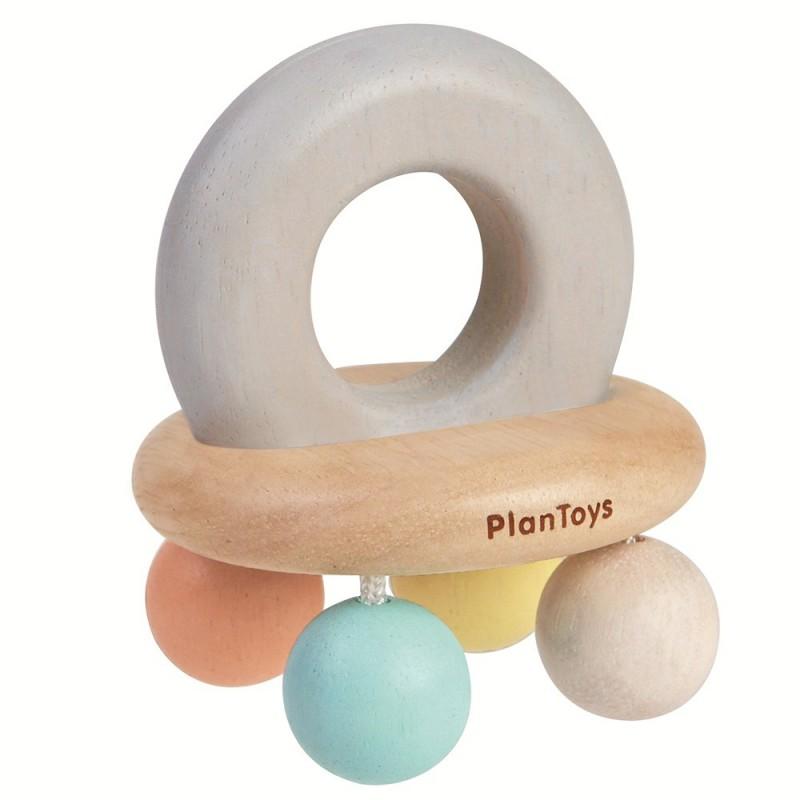 Pastel rammelaar met kralen, Plan Toys