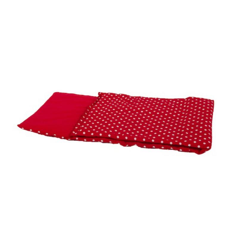 Dekje poppenwagen rood met witte stippen