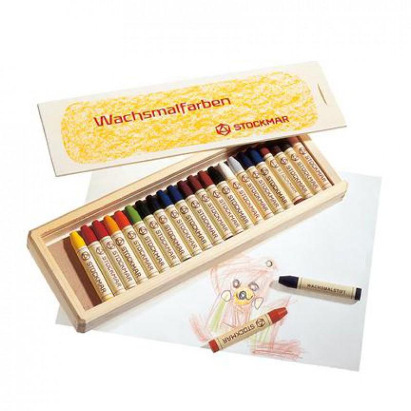 Bijenwasstiftjes 24 kleuren in kist, Stockmar