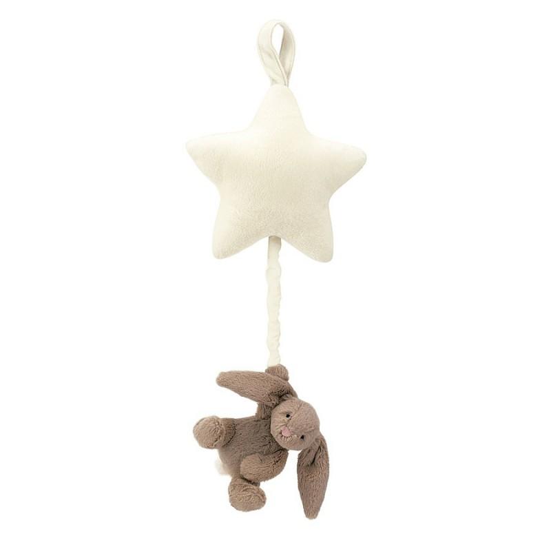 Muziekknuffel beige konijn ster, Jellycat Bashful