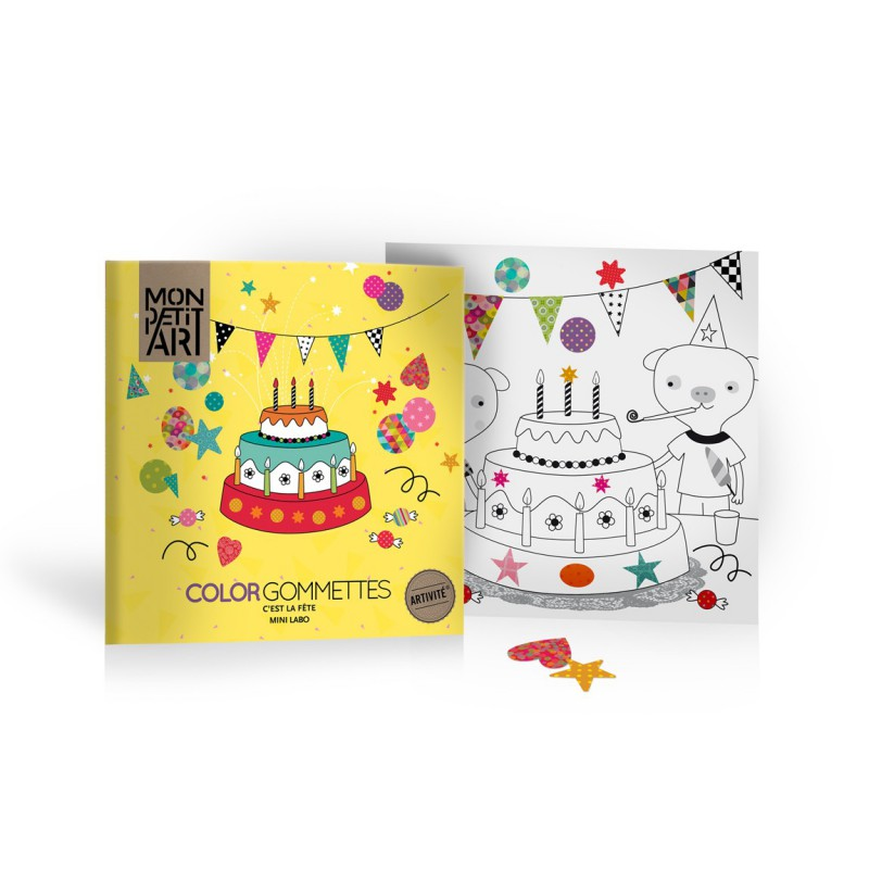 Feest kleur- en stickerboek, Mon Petit Art