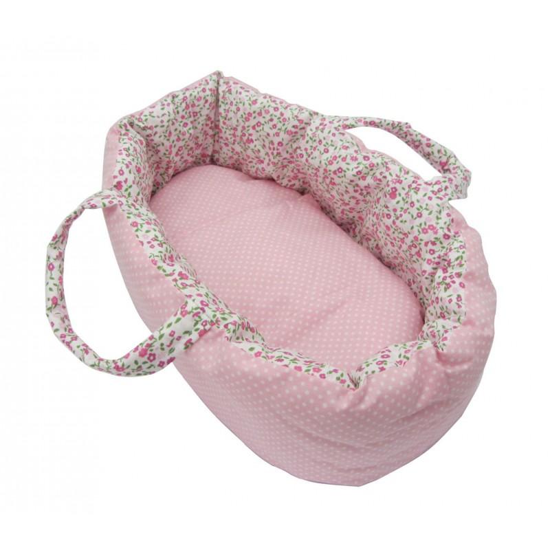 Poppenreiswieg roze/bloem 40 cm