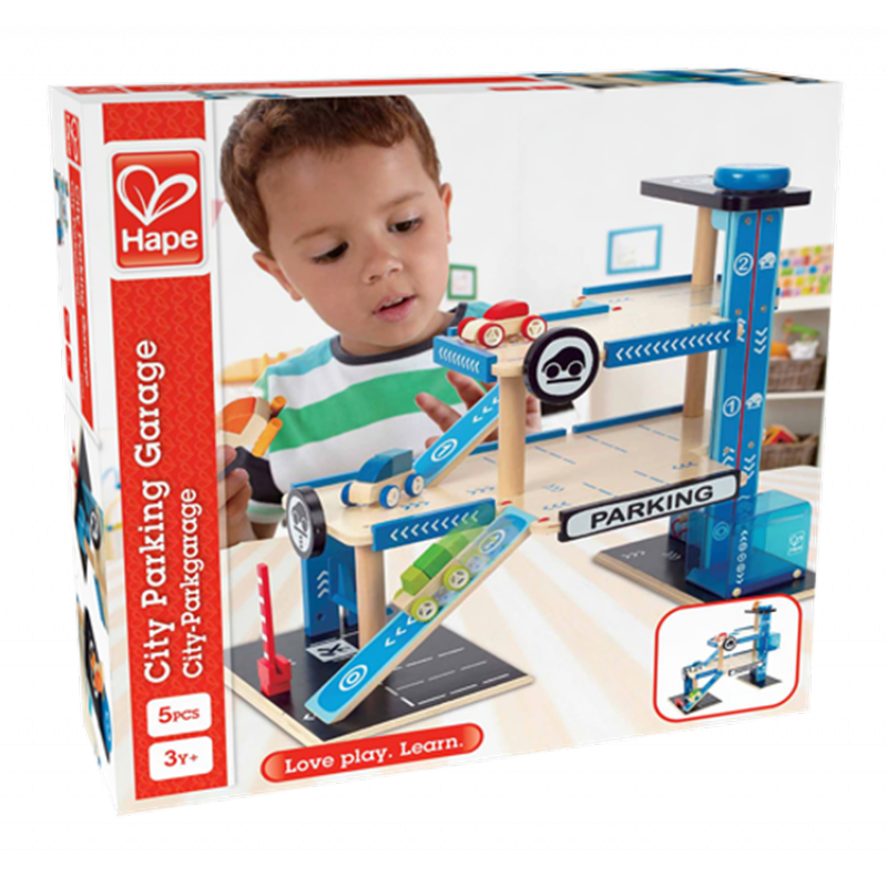 City Parking garage met accessoires, Hape