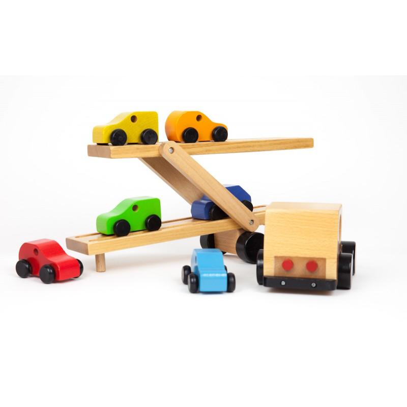 Houten oplegger met 6 auto's, Primi Passi