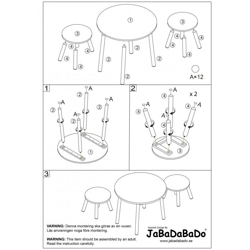 Tafel met 2 krukjes, Jabadabado