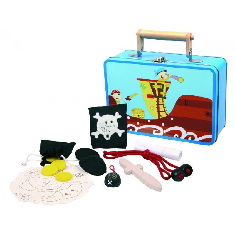Blikken koffer met piratenspullen