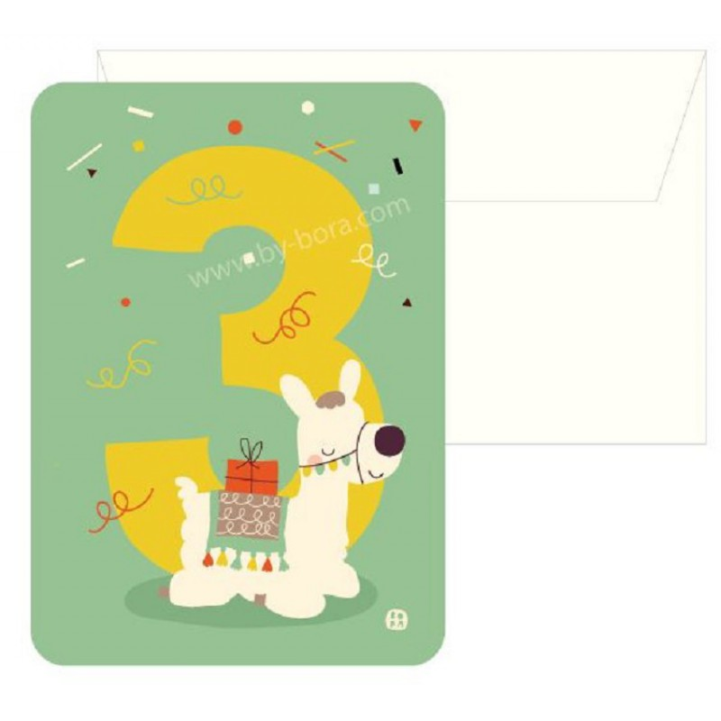 3 Alpaca, kaart & envelop, Bora