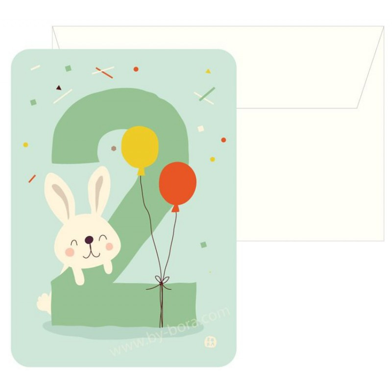 Konijn 2, kaart & envelop, Bora