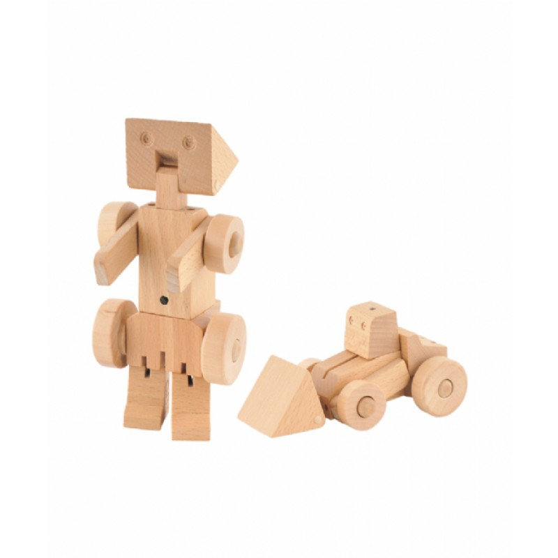 Transforfun houten robot-shovel