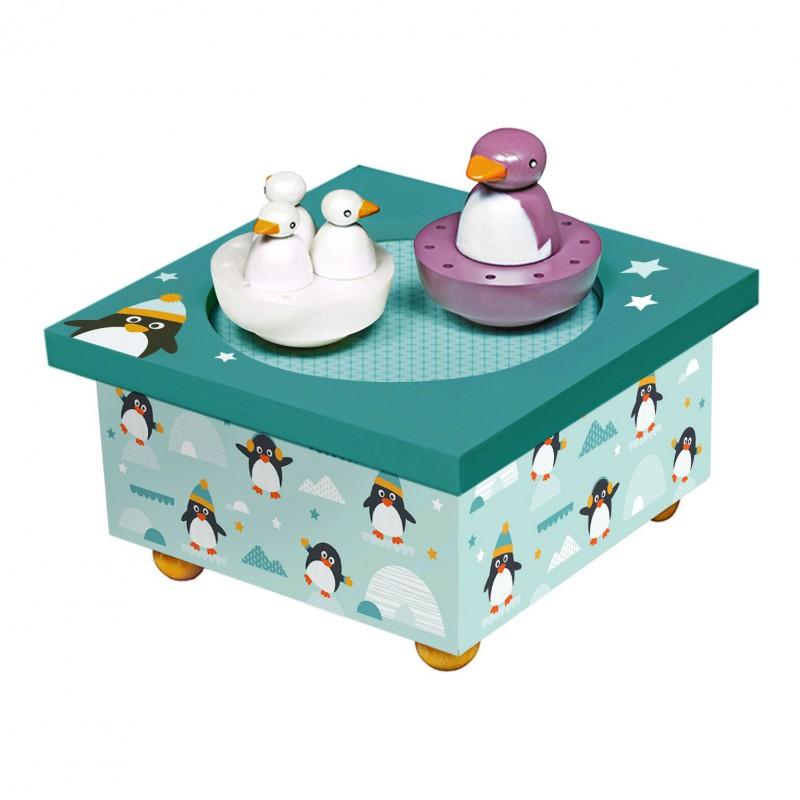 Muziekdoos met draaiende pinguins