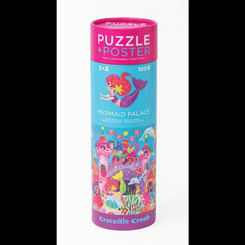 Puzzel & poster Mermaid Palace 100 stukken, Crocodile Creek