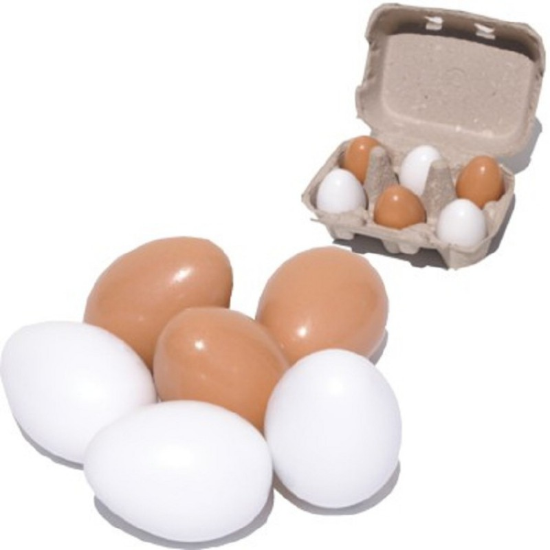 Houten eieren in doosje