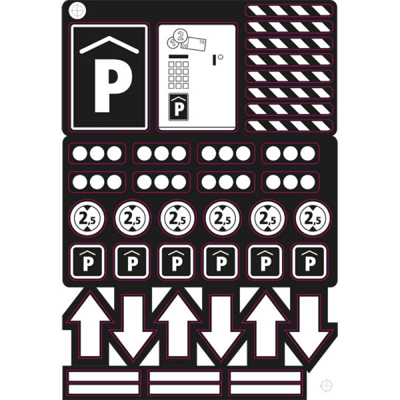 Stickers bij bouwpakket parkeergarage, Calafant+