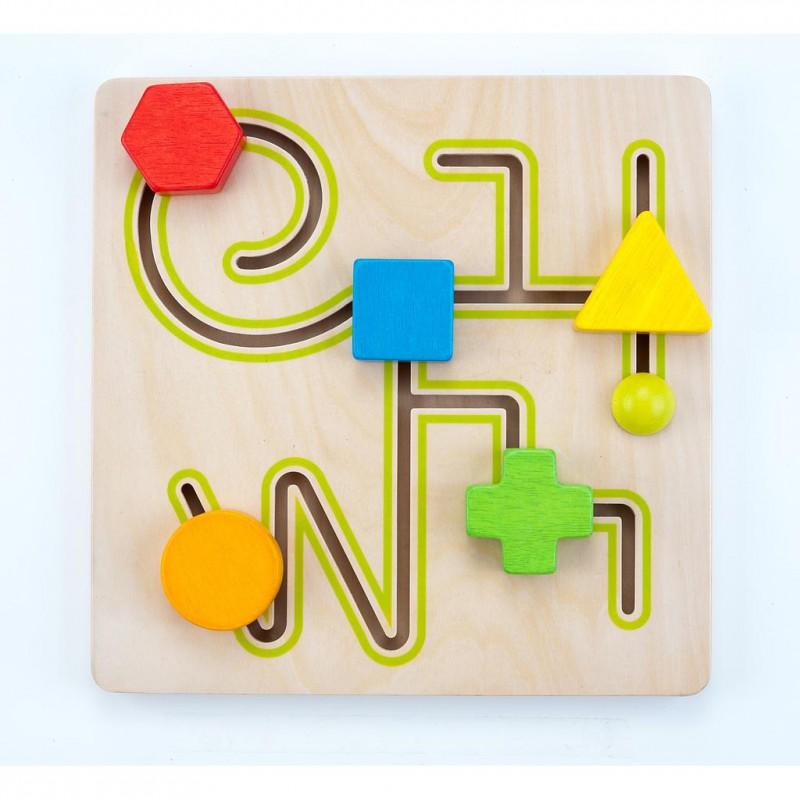 Schuifpuzzel labyrinth 5 vormen, Engelhart